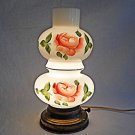 Vintage Interior Liight Hurricane Lamp Hand Painted Roses White Glass Floral