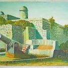 Folk Confederate Southern Vintage Painting Civil War Fort Canon Dixie Alcazar 89