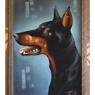 Vintage Painting on Velvet Doberman Dog Profile Signed B Framed Canine Black