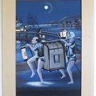 Japanese Vintage Original Painting Watercolor Nightlife Blue Trunk Carrier