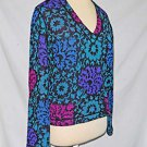 Missoni Sweater Deadstock Vintage 80s V Neck Wool Flower Floral Print NOS Dark M