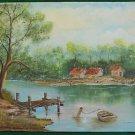 Riverside Original Painting Vintage Buccolic Americana Dock Boat Sprengart 86