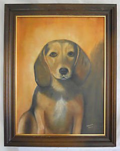 Folk Art Naive Outsider Vintage Painting Dog Beagle Puppy Face Virginia Green