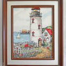 Vintage Needlepoint Seascape Folky Lighthouse New England Boats Cottages Ballsh