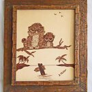 Owls Naive Vintage Folk Art Drawing Ink Perched Over Tropical Lagoon Phillips