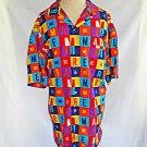 Hawaiian Moschino Shirt Cotton Mens Multicolor Vintage Logo Mare Geometric 52