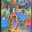 Vintage Haitian Painting  Original  Fruit Market Big Eye Female Faces W Bazile
