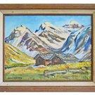Vintage Folk Art Naive Original Painting Mountain Landscape Log Cabin Anthony