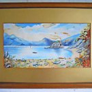 Vintage Original Hawaii Plein Air Painting Lagoon Boat Launch Mountains Lui