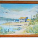 Chesapeake Vintage Original Painting Delaware Bay Waterfront Fish House Wood