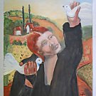 Vintage Folk Painting Woman in Black Releasing Doves Italian Landscape Anne Z
