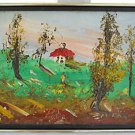 Vintage Painting Cottage Romantic Country Landscape Red Roof Impasto A Lache