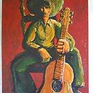 Vintage Original Mexican Modernism Painting Cowboy Guitarist Mariachi Welch 67