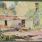 Florida Cracker Vintage Painting Watercolor Front Porch Shack Chairs Couch Junk