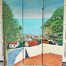 Vintage Folk Art Seascape Architectural California Painting Hand Painted Screen