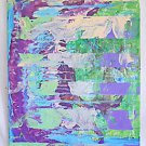 Outsider Street Art Abstract Painting Horizontal Lines Lavender Green Blue ROS