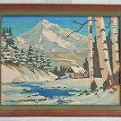 Vintage Painting by Numbers Rocky Mountain Snow Cabin Rustic High Country WAC