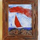 Folk Art Vintage Modern Mid Century Painted Inised Art Tile Sailboat Red Sail