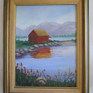 Folk Naive Vintage Painting Western Mountain Lake Cabin Kline Hide Away 1978