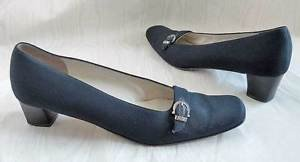 Salvatore Ferragamo Black Silk Stack Heel Shoes 7.5AA Silver Buckle Leather Sole