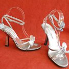 Dolce & Gabbana Silver Sandals Butterfly 38 Platform Ankle Wrap Underslung Heel