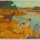 Folk Art Naive Vintage Painting Carolina Marsh Hunting Dogs Hunter Gun Pointer