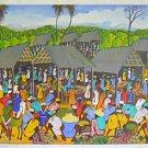 Vintage Haitian Painting Crowded Market Stall Vendors Animated Food ML Vixamar
