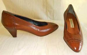 Brogues Wood Cone Heel Cole Haan Pumps Shoes NOS Vintage 70s Leather Mesh 38.5