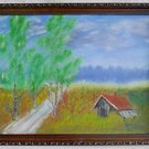Folk Art Outsider Naive Vintage Painting Carver Wilderness Cabin Stormy Sky 93