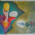 Allegorical Modernist Vintage Folk Painting Hand In Lily Hatching Eggs Huge Pike
