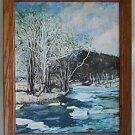 Snow Landscape Vintage Original Painting Viola Stevenson Winter Icy River Plein