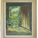 Painting Antique 1945  View Through Rustic Cabin Door To Forest Dramatic  Sarbo