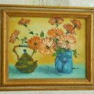Vintage Painting Still Life Flowers Copper Teapot Original Oil on Canvas Framed