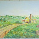 Folk Naive Vintage Painting Ranch House Silo Well Barn Hill Lonely Road Bregman