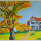 Folk Art Vintage Painting Portait Little House Behind Big Tree Janet Story 59