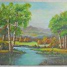Mountain Landscape Vintage Original Painting Brook Plein Air Pastoral Denise