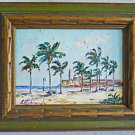 Vintage Original Painting Tropical Beach Fort Lighthouse Impasto  Eshetsadir