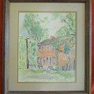 Connecticut Farmhouse Vintage Painting Architectural Watercolor Rural E Micek