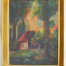 Alabama Southern 50s Vintage Mid Century Modern Oil Painting Salida Cabin 1953