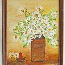 White Daisies Folk Art Naive Vintage Original Painting Still Life Candle Elder