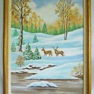 Folk Art Naive Vintage Landscape Painting Deer Snow Winter Rustic Kernoski 97