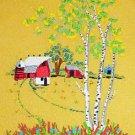 Farm Country Landscape Vintage Needlework Tiny Silo Red Barn Huge Birch Tree