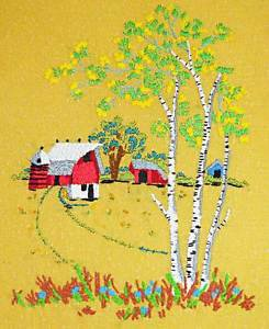 Farm Country Landscape Vintage Needlework Tiny Silo Red Barn Huge Birch Tree