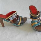 Isabella Fiore Wood Platform Mules Sandals Clogs Leather Multi Color Bands 7