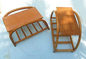 Vintage Pair Rattan Side End Tables Pretzel Tiki Moderne Hawaiiana South Pacific