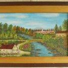 Folk Art Vintage Michigan Beautiful River Tiny Buildings Painting Hontans 1972