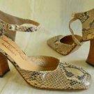 Mary Janes Kalliste Snakeskin Handmade Shoes Square Block Heel Wood Vintage 70s
