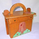 Vintage 60s Wood Box Bag Handbag Folk Art Carved Lady Bug Mushroom Painted  3D