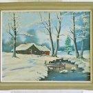 Folk Art Naive Vintage Painting Canada Primitive House Portait Snow Winter