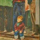 50s Cowboy Folk Art Painting Vintage Levis Jeans Mid Century Modern Vinicur